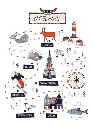 Cartoon Norway vector map. Travel Scandinavia concept. Nordic culture elements and landmarks set. Lighthouse, flora and fauna, church, skiing, scandinavian house. Hand drawn doodle style illustration.  イラスト・ベクター素材