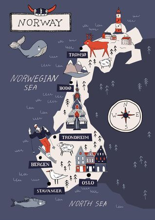Cartoon Norway vector map. Travel Scandinavia concept. Nordic culture elements and landmarks set. Lighthouse, flora and fauna, church, skiing, scandinavian house. Hand drawn doodle style illustration. Ilustração