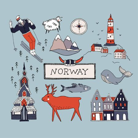 Norway culture elements set. Hand drawn vector illustration of Nordic symbols in doodle style. Lighthouse, whale, deer, fjord, scandinavian house, church, viking helmet. Travel Scandinavia concept