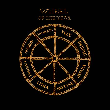 Wiccan wheel of the year concept. Celtic calendar of annual festivals and holidays. Hand drawn vector illustration of pagan witches traditions in sketch style on black background Vector Illustration