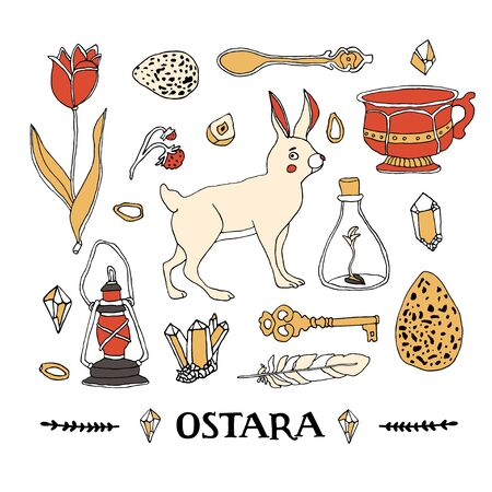 Ostara symbols set. Celtic calendar concept. Spring equinox elements and hand written lettering. Rabbit, Easter eggs, magic crystals, tulip, vintage tea cup, feather, old lantern, seeds and berries Ilustração