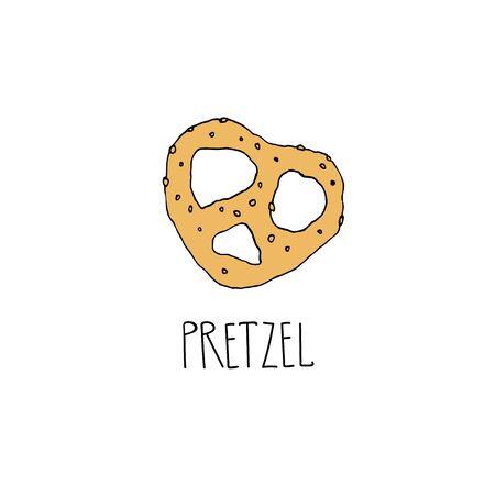 Cartoon pretzel drawing in a doodle style. German national food concept. Vintage pretzel icon for restaurant, cafe, bakery menu  イラスト・ベクター素材