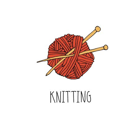 Knitting logo design. Crochet icon for hand made knitting shop. Yarn with needles emblem. Hand drawn lettering vector illustration