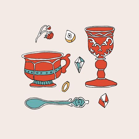 Antique dishes, cutlery and crystals set. Vintage spoon, goblet and victorian tea cup collection. Hand drawn vector illustration in sketch style. Perfect for  print, emblem, card, invitation