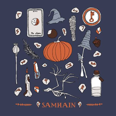 Samhain symbols set. Celtic calendar concept. Wiccan and witchcraft elements, hand written lettering. Autumn pumpkin, nordic runes, tarot cards and magic potion collection