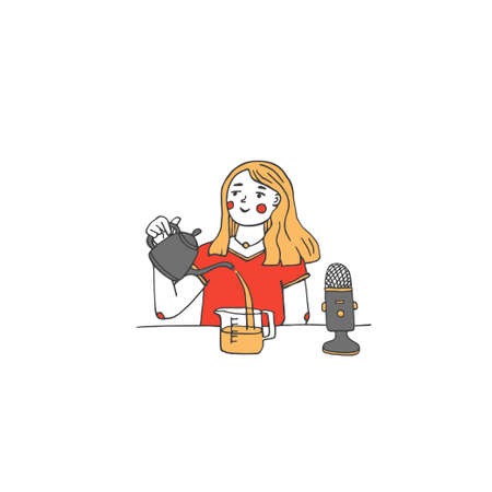 Young girl recording natural water sounds as ASMR trigger for relaxation. Blogger or influencer making new audio or video for social media. Process of making ASMR sounds vector illustration in a doodle style