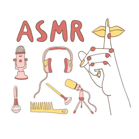 ASMR concept elements set with hand drawn lettering. Cartoon vector illustration in a line art style