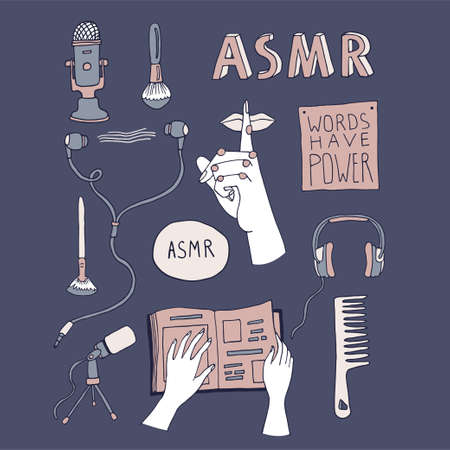 ASMR concept elements set with hand drawn lettering. Sound triggers for reducing anxiety and stress. Cartoon vector illustration in a line art style