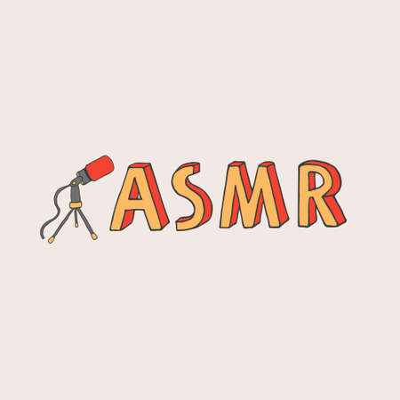 ASMR logo, emblem including microphone recording stimulational and relaxing sounds for good sleep or concentration. Autonomous Sensory Meridian Response lettering in hand drawn cartoon style