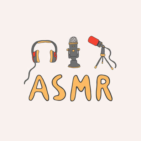 ASMR logo, emblem including equipment. Microphones and headphones to make relaxing sounds. Autonomous Sensory Meridian Response lettering in hand drawn doodle style.