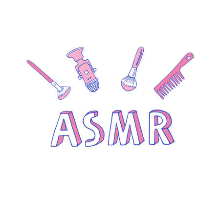 ASMR logo, emblem including equipment. Microphone and brushes to make stimulational sounds. Autonomous Sensory Meridian Response lettering in hand drawn line art style