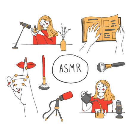 Woman recording ASMR sounds near microphone for anxiety and stress reducing, good sleep. Autonomous Sensory Meridian Response triggers. Nails tapping on glass surface, natural water sounds, whispering, page turning. Vector illustration with hand drawn lettering