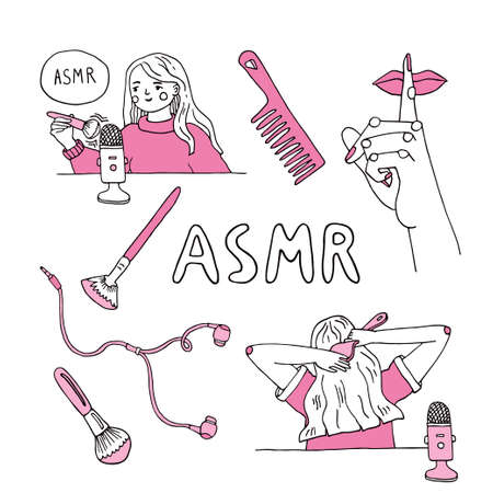 Woman recording ASMR sounds using brushes near microphone for anxiety and stress reducing and good sleep. Autonomous Sensory Meridian Response triggers. Whispering, hair brushing, soft scratching noises. Vector illustration with hand drawn lettering
