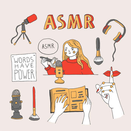 ASMR triggers and equipment set. Young woman recording ASMR sounds using a brush to create content for social media. Vector illustration with lettering in a hand drawn style
