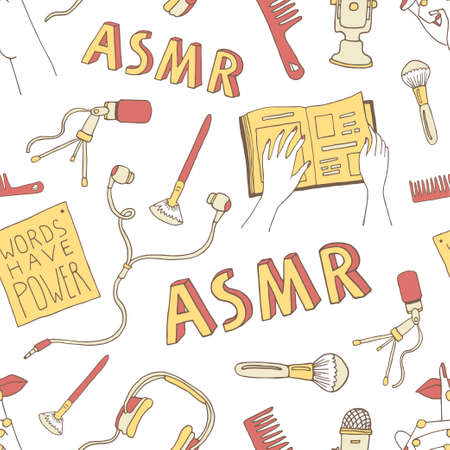 ASMR concept seamless pattern. Cartoon background with ASMR triggers and equipment for recording relaxing sounds. Vector illustration in a doodle style with hand drawn lettering. Perfect for wrapping paper, banner, textile design
