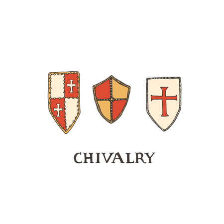 Medieval knight shields. Coat of arms heraldic equipment. Crusaders templar armor vector illustration in line art style. Chivalry concept
