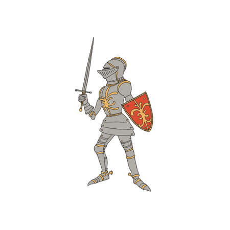 Medieval knight with a sword and shield. Male warrior with armor taking part in a jousting. Swordsman vector illustration in a hand drawn line art style. Chivalry concept.