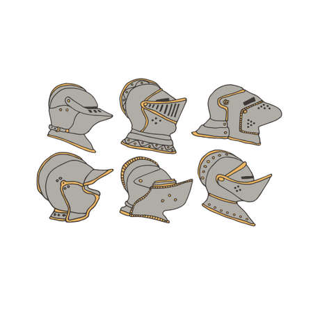 Knight helmets set. Vector collection of knights armor equipment. Chivalry and crusade concept. Warrior head illustration in a hand drawn line art style.