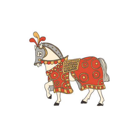 Knight horse covered with a colorful blanket and taking part in a tournament. Vector illustration of a medieval battle horse in a helmet and harness. Chivalry and crusade concept. Ilustração
