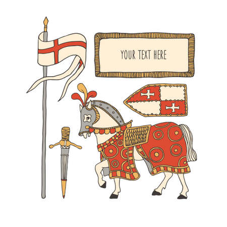 Knight horse covered with a colorful blanket and taking part in a tournament. Medieval armor including shield, sword, flag. Vector illustration of medieval battle horse. Chivalry and crusade concept