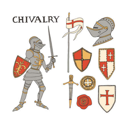 Medieval knight with a sword and shield. Knights armor equipment set including helmet, flag, shields. Male warrior taking part in a jousting or tournament. Chivalry and crusade concept