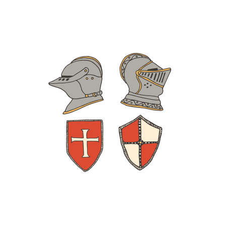 Medieval knight helmets and shields. Coat of arms heraldic equipment. Crusaders templar armour vector illustration in line art style. Chivalry concept