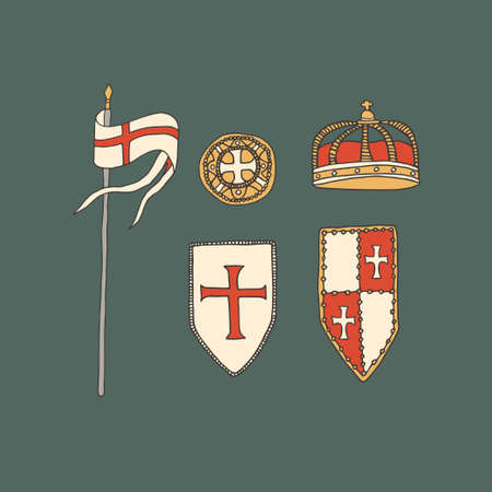Medieval knight armor collection including shields and flag. Chivalry and crusade vector illustration in hand drawn line art style and vintage colors. Templar coat of arms and coin. Middle ages concept