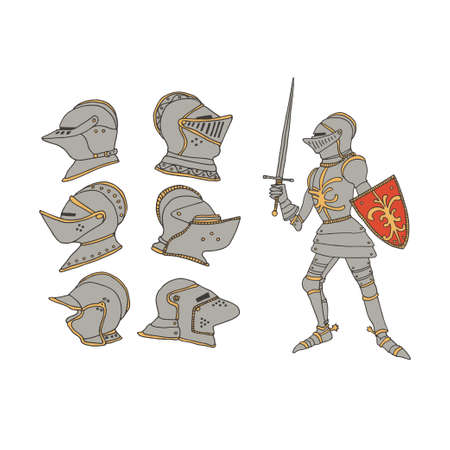 Medieval knight with a sword and shield. Male warrior with armor taking part in a jousting. Knight helmets set vector illustration in a hand drawn line art style. Chivalry and crusade concept.