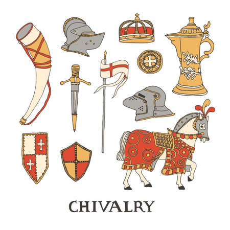 Knight horse in blanket and harness. Chivalry and crusade set of elements including helmet, crown, templar shields and flag, hunting horn and sword. Knighthood vector illustration