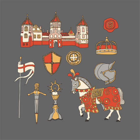 Medieval castle and knight horse in blanket and armor suit. Chivalry and crusade set of elements including helmet, crown, templar shields and flag, wax seal and sword. Knighthood vector illustration