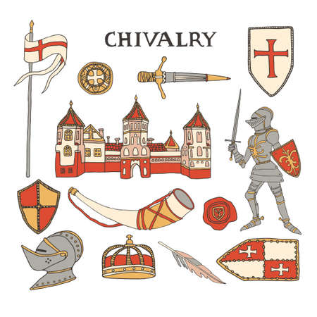 Medieval castle and knight in armor suit. Chivalry and crusade set of elements including helmet, crown, templar shields, wax seal and hunting horn. Knighthood vector illustration with lettering