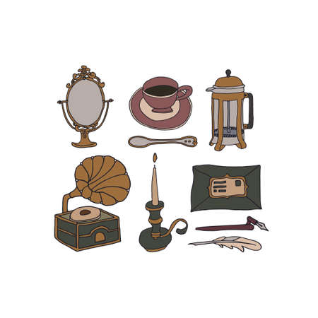 Dark Academia room set. Vintage elements collection. Old mirror, candle, gramophone, french press, coffee cup and feather. Hand written letter and ink. Antique aesthetic vector illustration
