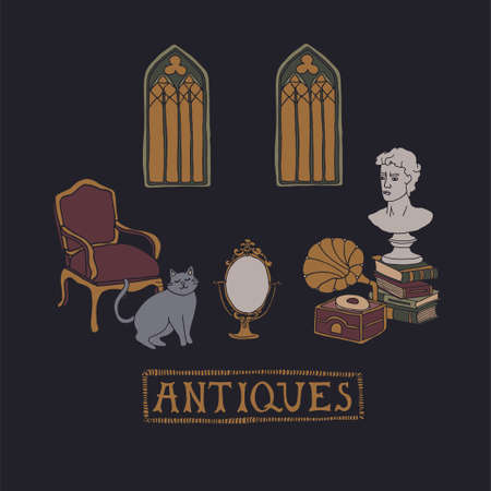 Dark Academia room. Stacks of books, vintage armchair, gramophone, ancient bust and gothic windows. Cute cat looking at the old mirror. Antique aesthetic vector illustration with hand drawn lettering 矢量图像
