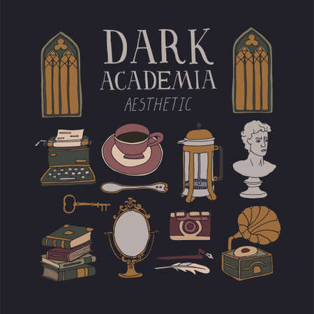 Dark Academia room set. Vintage elements collection. Bust, french press, typewriter, stacks of books and gramophone. Hand written lettering. Antique aesthetic vector illustration. Gothic architecture Vector Illustration