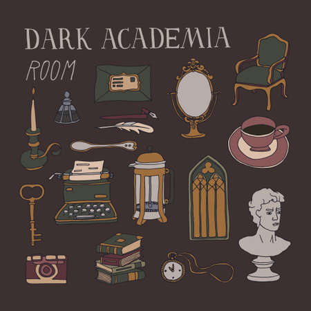 Dark Academia room set. Vintage elements collection. Bust, french press, typewriter, stacks of books and antique furniture. Lifestyle vector illustration in dark colors with hand written lettering