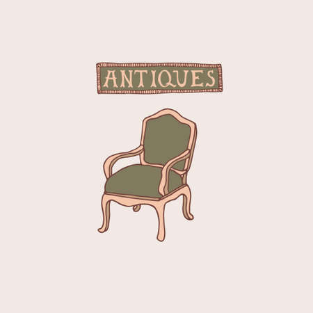 Light Academia concept. Antique armchair and lettering in decorative frame. Antiques store logo or emblem. Vintage furniture vector illustration in sketch style