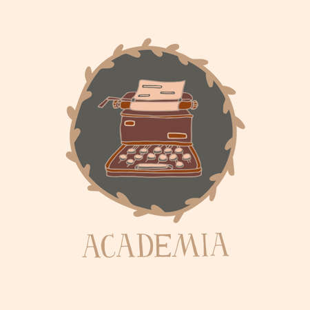 Light Academia concept. Vintage typewriter and lettering in decorative frame. Antiques store logo or emblem. Vintage vector illustration in sketch style