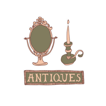 Light Academia concept. Antique mirror, candleholder and lettering in decorative frame. Antiques store logo or emblem. Vintage decor vector illustration in sketch style Çizim