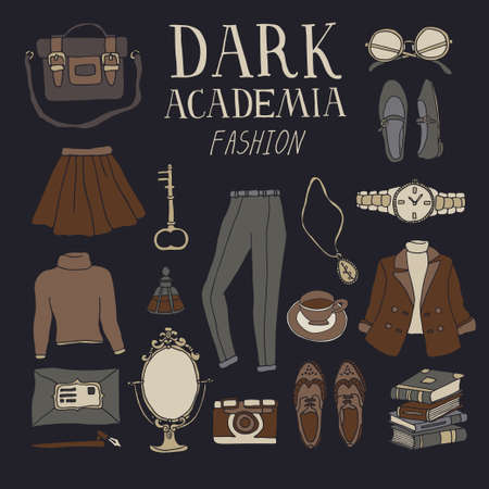 Dark Academia fashion set. Collection of vintage clothes and accessories. Stylish look or outfit. Vector illustration in line art style with hand drawn lettering Illusztráció
