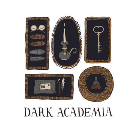 Dark Academia aesthetic. Vintage elements collection. Old key, envelope, ink bottle, candle, shoes and glasses in decorative frames. Hand written lettering. Antique vector illustration in sketch style Çizim