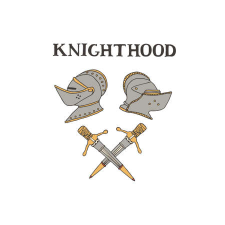 Medieval knight helmets and swords. Coat of arms heraldic equipment. Crusaders templar armour vector illustration in line art style. Chivalry and knighthood concept