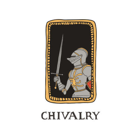 Medieval knight with a sword and in decorative frame. Male warrior with armour taking part in a jousting. Swordsman vector illustration in a hand drawn line art style. Chivalry concept.