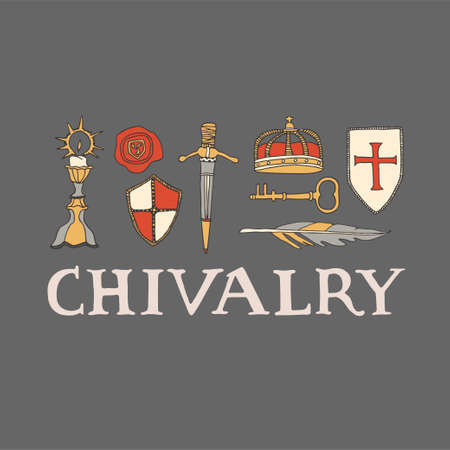 Chivalry and crusade set of elements including candleholder, crown, templar shield, wax seal and sword. Knighthood vector illustration with hand drawn lettering Ilustração