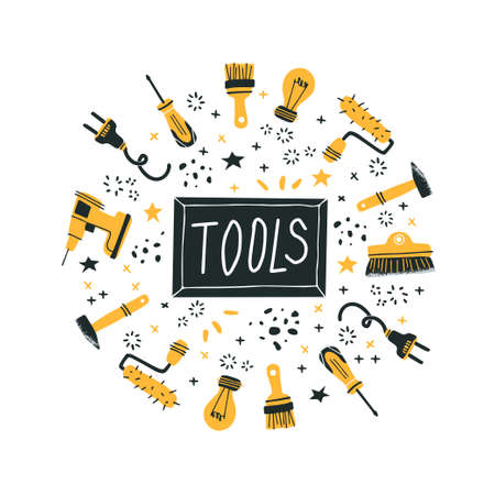 DIY store concept. Vector illustration of tools for home renovation and shop departments in a flat style with hand drawn lettering. Perfect for hardware store poster, banner or flyer Vektorové ilustrace
