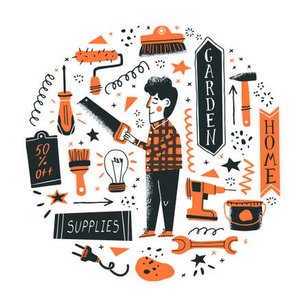 DIY shop concept. Man standing with a saw and choosing tools in a hardware store. Vector illustration of instruments for home renovation in a flat style. Perfect for poster, banner or flyer Vektorové ilustrace