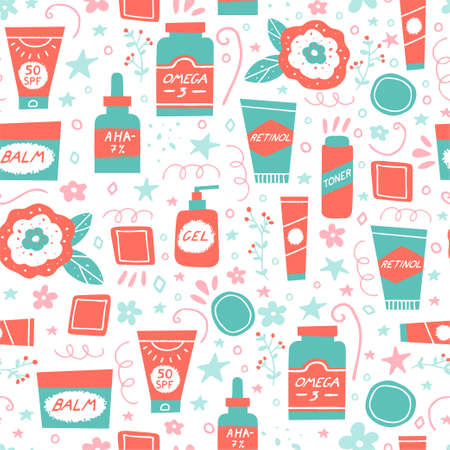 Acne skin concept. Skincare and cosmetics seamless pattern. Water, omega-3, retinoids, serum, cleanser and sunscreen as a part of acne treatment. Vector illustration in a flat style Иллюстрация