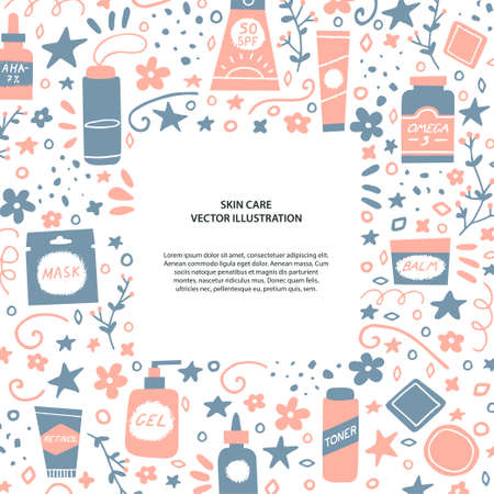 Acne treatment concept. Flyer or card template. Skincare and cosmetics elements. Water, omega-3, retinoids, serum, cleanser and sunscreen. Dermatology and self care. Vector illustration in a doodle style