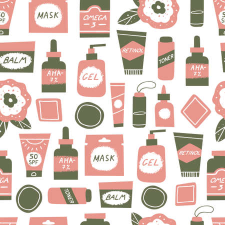 Acne skin concept. Skincare and cosmetics seamless pattern. Water, omega-3, retinoids, serum, cleanser and sunscreen as a part of acne treatment. Vector illustration in a flat style
