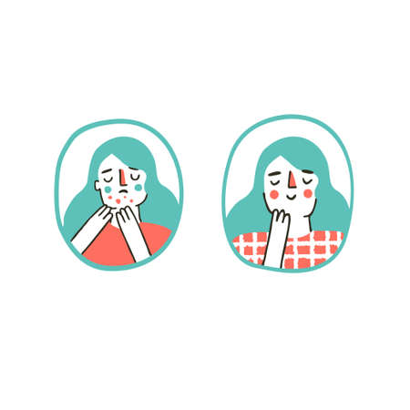 Young girl is sad about her acne skin before acne treatment. Acne before after skincare concept. Dermatology and beauty. Vector illustration in a flat hand drawn style Vector Illustration