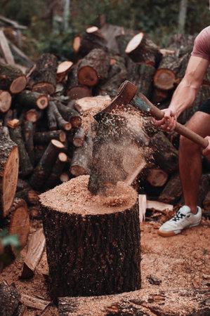 Masculine big man hack wood hard